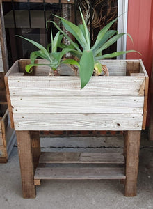 740mm rectangle planter with legs and shelf wooden recycled