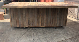 2700mm bar with 4 door cupboard wooden recycled