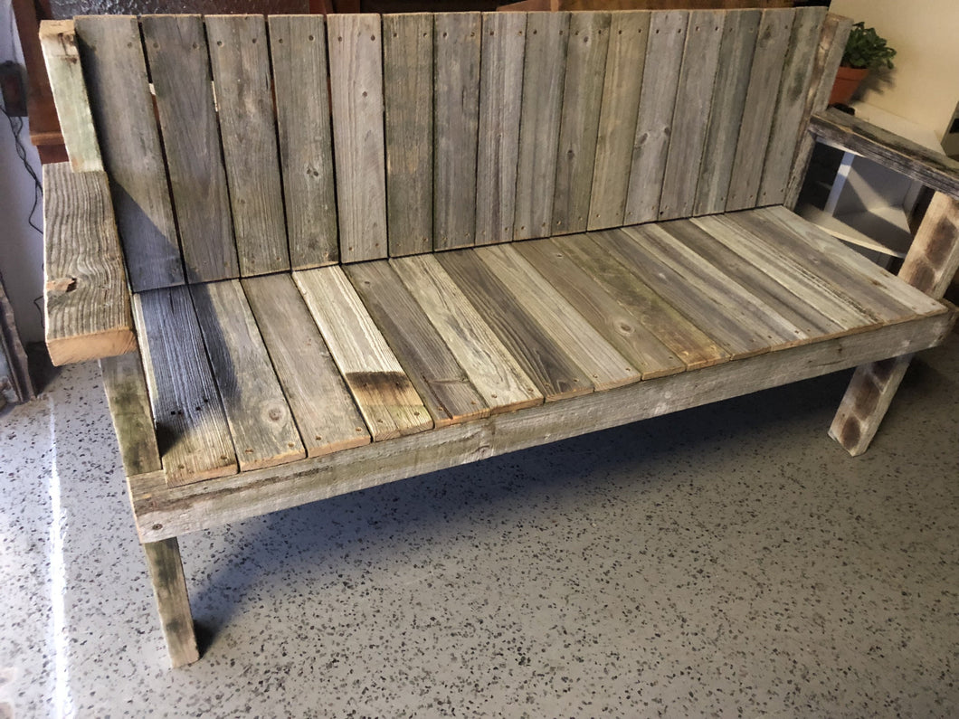 1800mm bench seat with back wooden recycled
