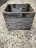 700mm square planter wooden recycled