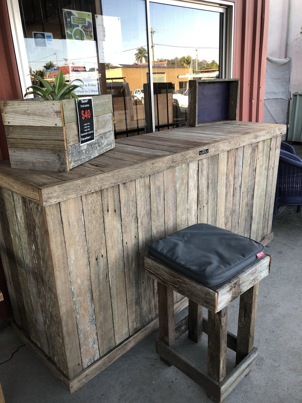 2100mm shop counter wooden recycled