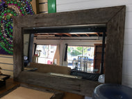 700mm rectangle mirror wooden recycled