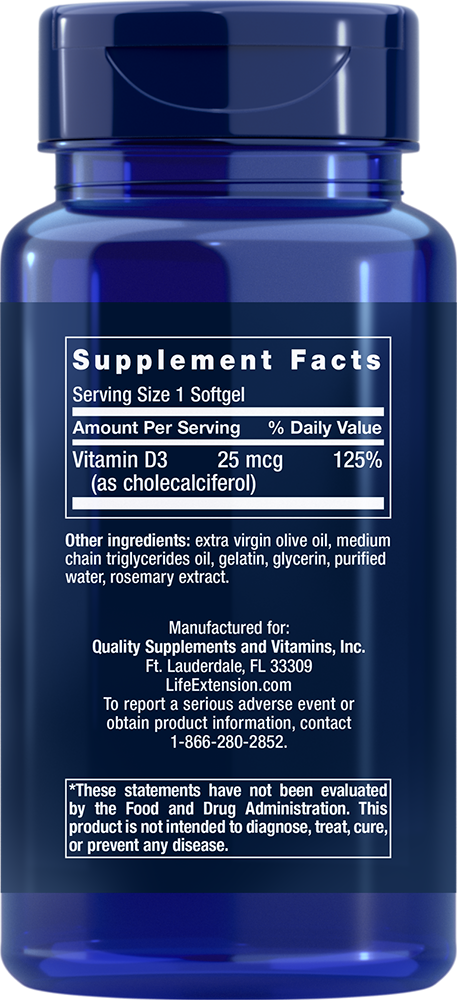 Vitamin D3 25 mcg (1,000 IU) - 250 Softgels