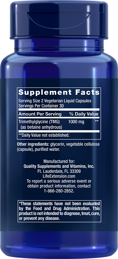 TMG 500mg - 60 Liquid Capsules