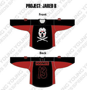 Friday the 13th Custom Sublimated Hockey Jersey - Jared B - YoungSpeeds