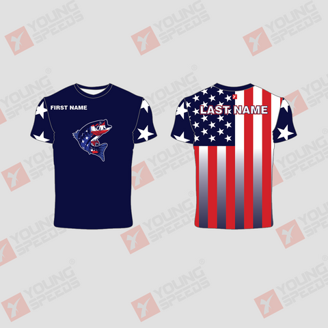 Navy Custom Sublimated Patriotic Short Sleeve Fishing Shirts