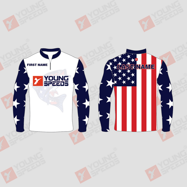 Custom Sublimated Patriotic Long Sleeve Performance Fishing Shirts - YoungSpeeds
