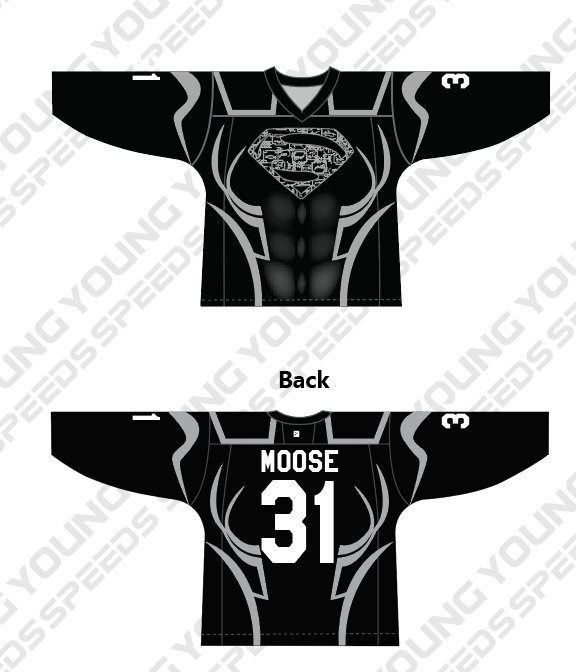 Superman Themed Black Custom Hockey Jersey - YoungSpeeds