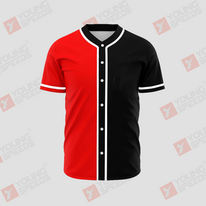 Black and Red Color Block Custom Button Down Baseball Jerseys - YoungSpeeds