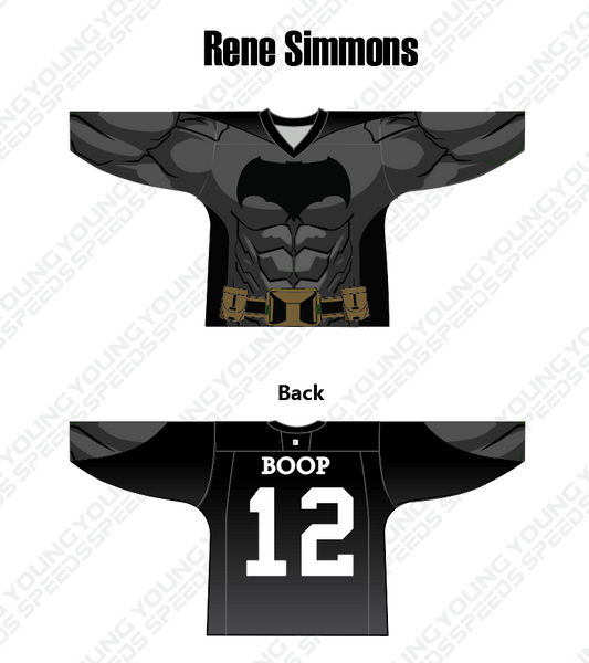 Batman and Snoopy Hockey Jersey-Rene Simmons - YoungSpeeds