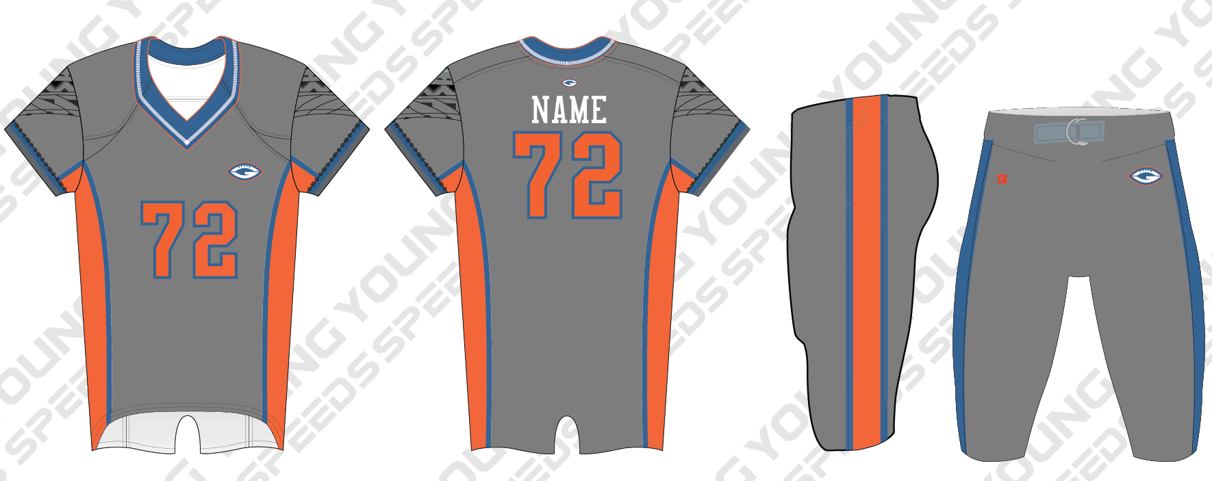 Team Giants Custom Sublimated Football Uniforms - SAMPLE ORDER - YoungSpeeds