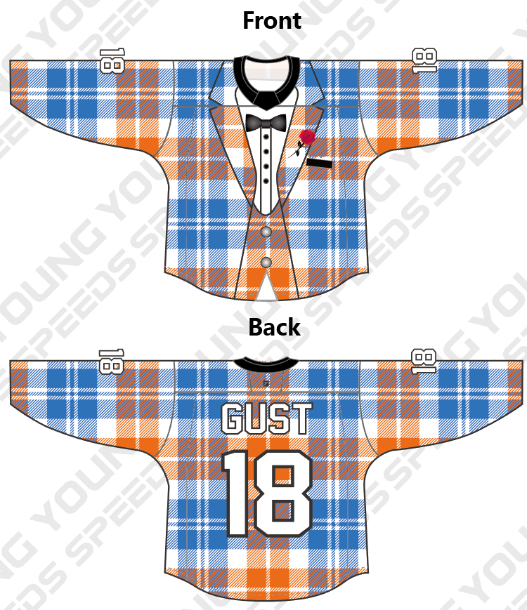 Blue and Orange Plaid Tuxedo Custom Hockey Jersey - YoungSpeeds