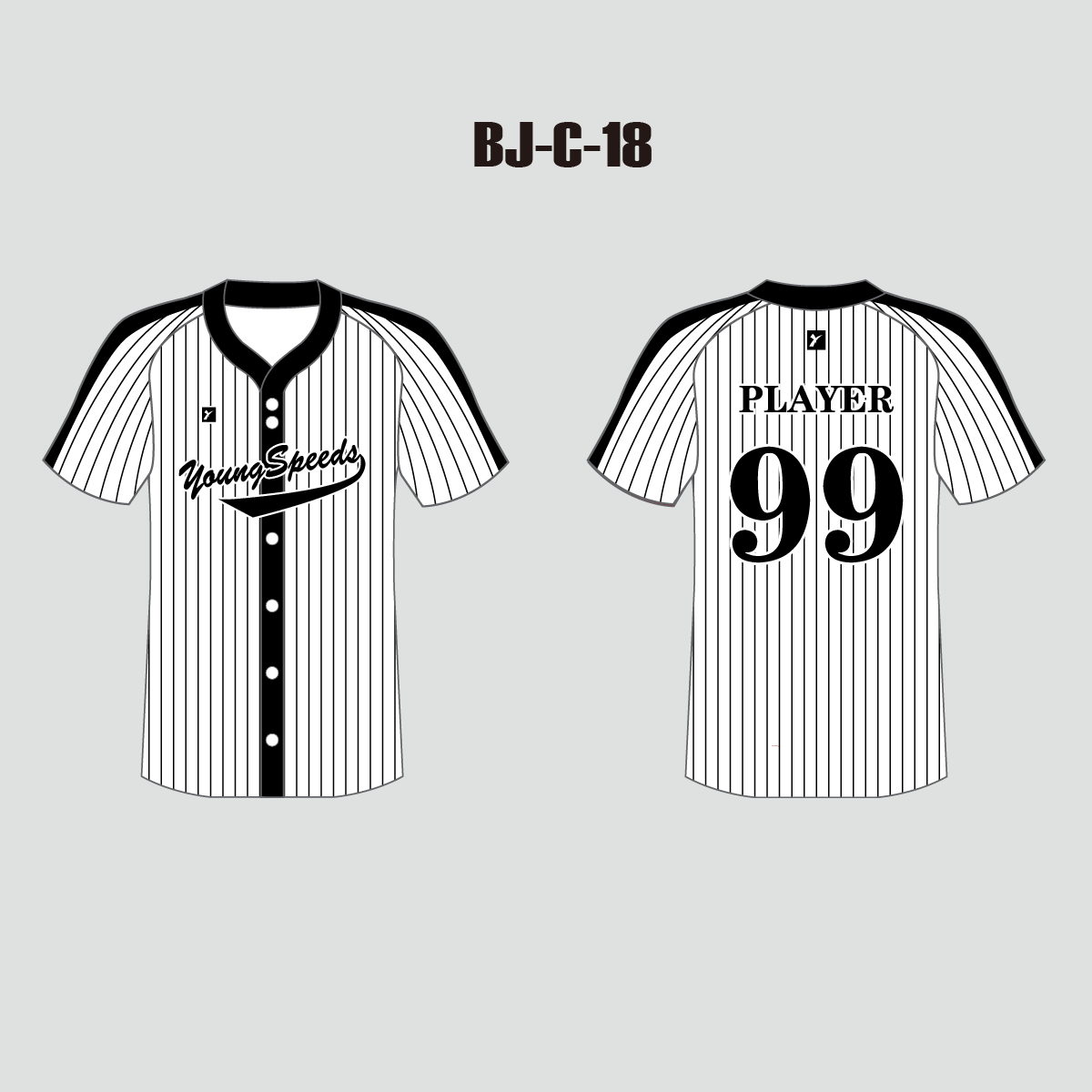 Custom Pinstripe Black and White Full Button Baseball Jerseys - YoungSpeeds