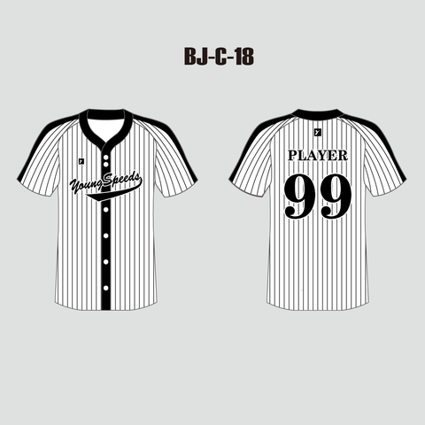 Sublimated Custom Pinstripe Black and White Baseball Jersey - YoungSpeeds
