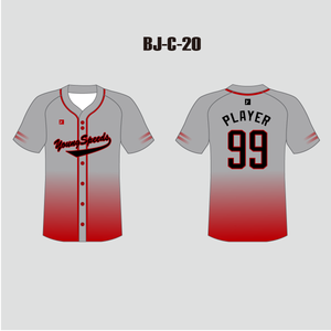 Custom Ombre Red Grey Full Button Baseball Team Jerseys - YoungSpeeds
