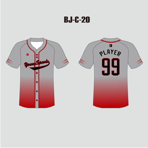 Sublimated Custom Ombre Red Grey Baseball Team Jerseys - YoungSpeeds