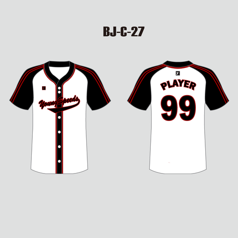 Sublimated Personalized White and Black Raglan Baseball Jersey - YoungSpeeds
