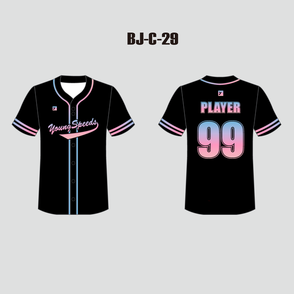 Sublimated Custom Black and Pink Full Button Baseball Jerseys - YoungSpeeds