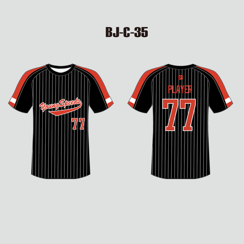 Custom Raglan Striped Black and Red Baseball Jersey Shirts - YoungSpeeds