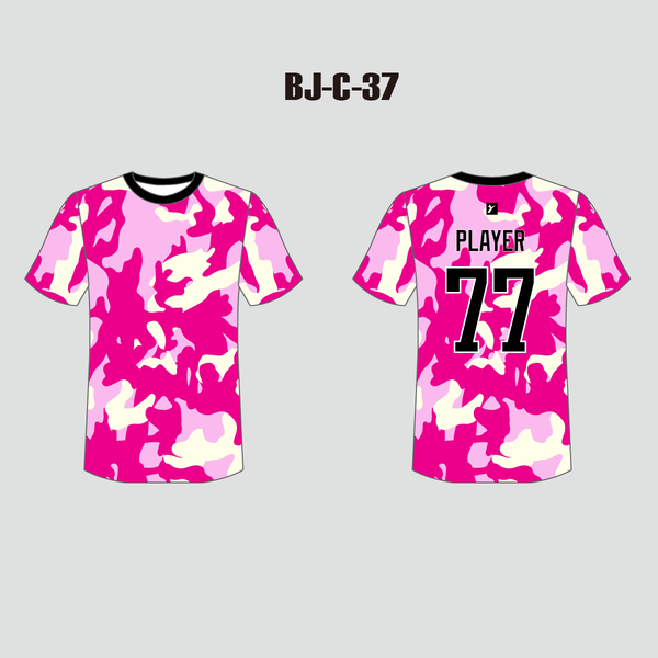 Pink Camo Sublimated Crewneck Custom Baseball Tee - YoungSpeeds