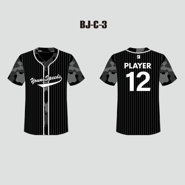 Stripe Camo Sublimated Custom Full Button Baseball Jerseys - YoungSpeeds