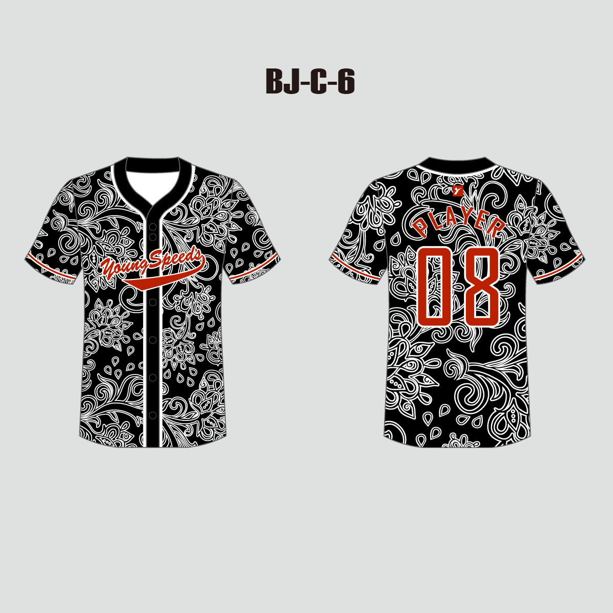 White Floral Pattern Sublimated Custom Button Down Baseball Jerseys - YoungSpeeds