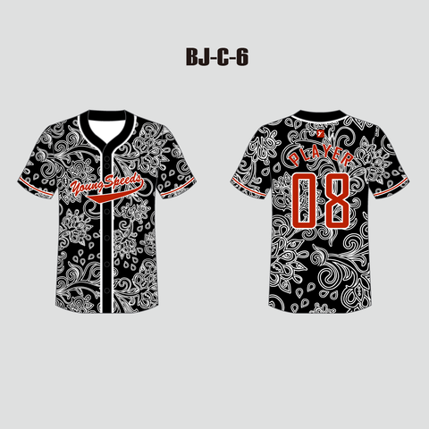 White Floral Pattern Sublimated Custom Baseball Jersey - YoungSpeeds