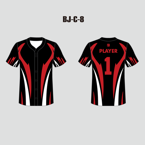 Sublimated Black Red and White Custom Baseball Jersey - YoungSpeeds