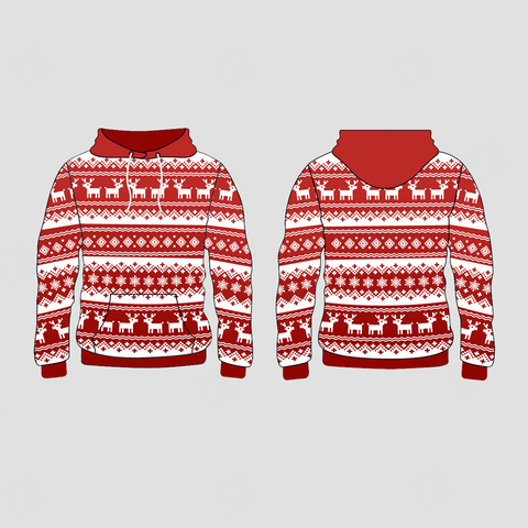 Deer and Snowflake Nordic Pattern Christmas Pullover Hoodie Sweatshirts - YoungSpeeds