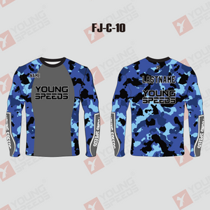Blue Camo Custom Crew Fishing Shirts - YoungSpeeds