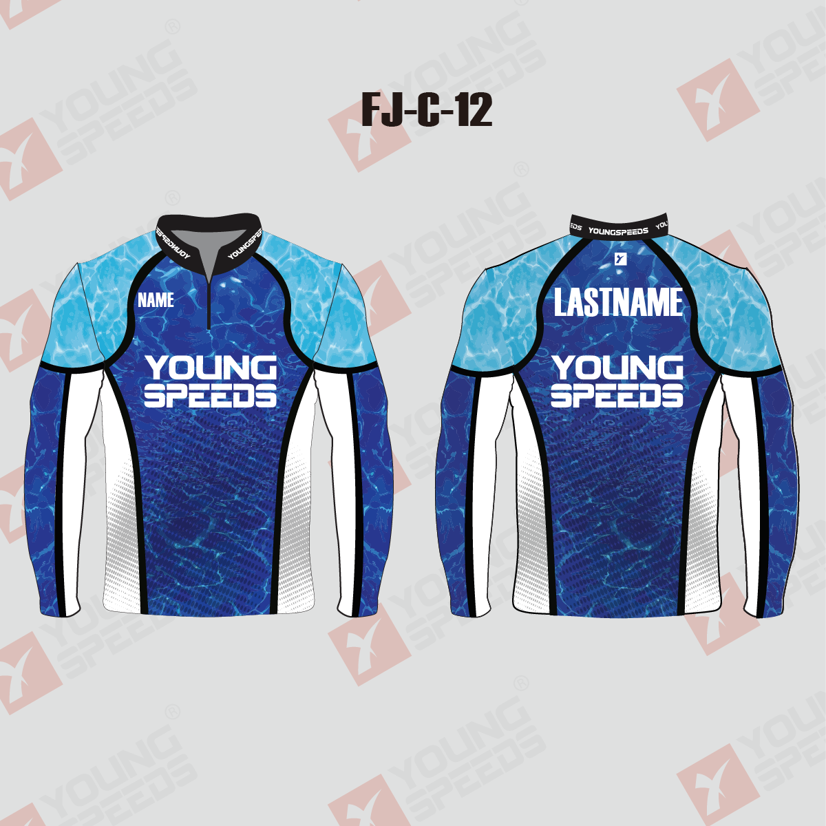 Water Wave Pattern Sublimated Custom Fishing Shirts 1/4 Zip - YoungSpeeds