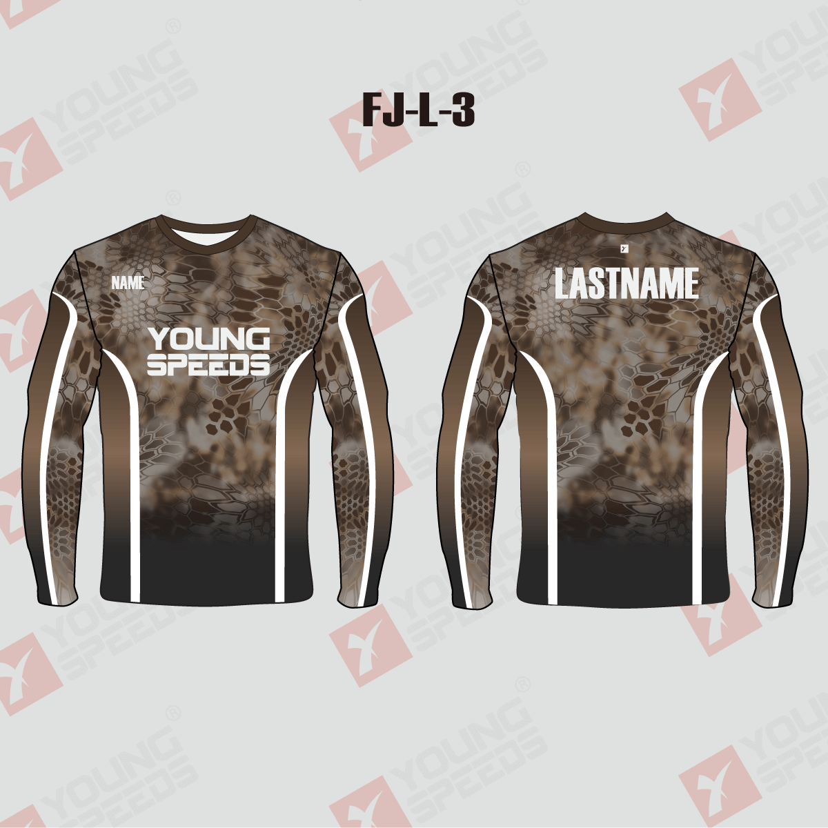 Brown Kryptek Crew Custom Performance Fishing Shirts - YoungSpeeds