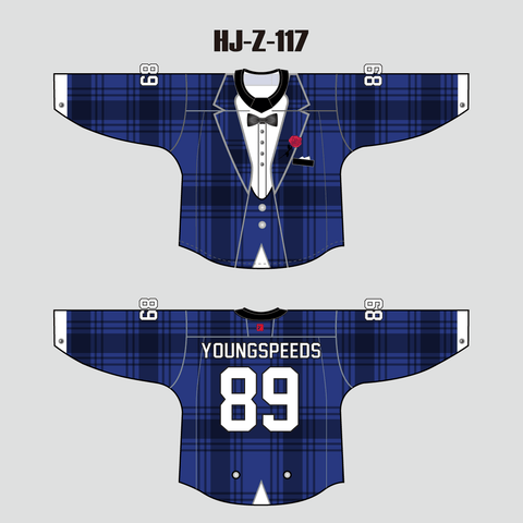 Hot Blue Tuxedo Sublimated Custom Hockey Jersey Goalie Cut - YoungSpeeds
