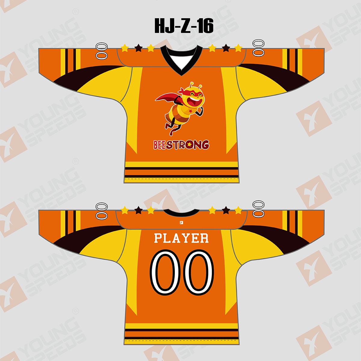 Bee Strong Sublimated Custom Hockey Jersey/Goalie Cut - YoungSpeeds