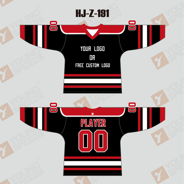 Sublimated Black Red White Custom Hockey Jerseys - YoungSpeeds
