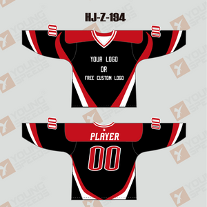 Sublimated Black White Red Custom Hockey Team Jerseys - YoungSpeeds