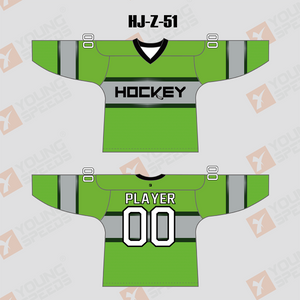 Green Sublimated Custom Made Hockey Jerseys - YoungSpeeds