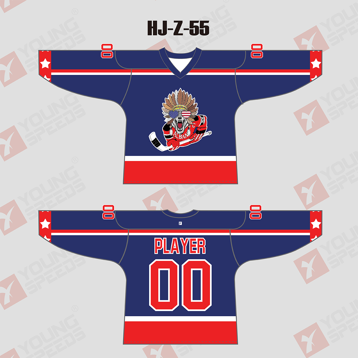 Blue and Red Sublimated Custom Team Hockey Jerseys - YoungSpeeds