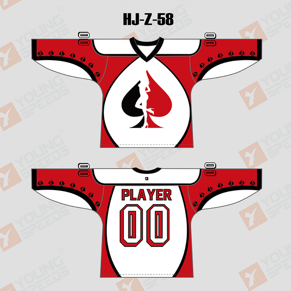Peach Heart Poker Custom Sublimated Hockey Jerseys - YoungSpeeds