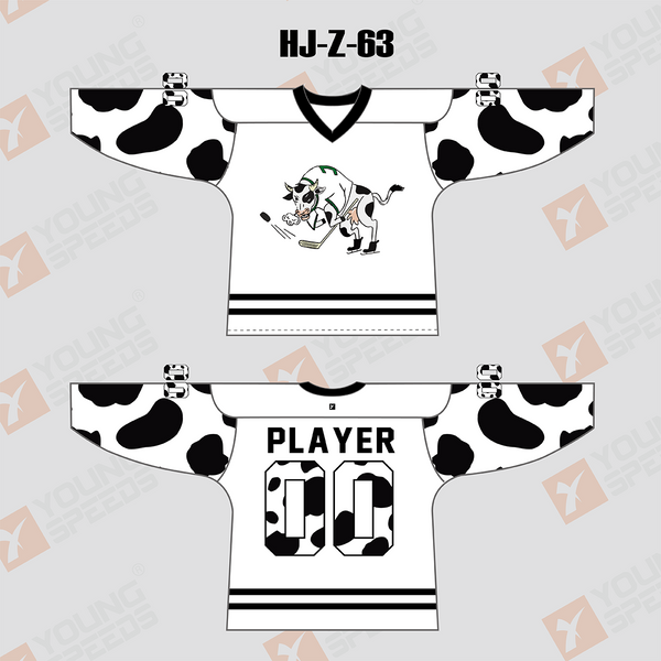 Black and White Sublimated Custom Hockey Jersey/Goalie Cut - YoungSpeeds
