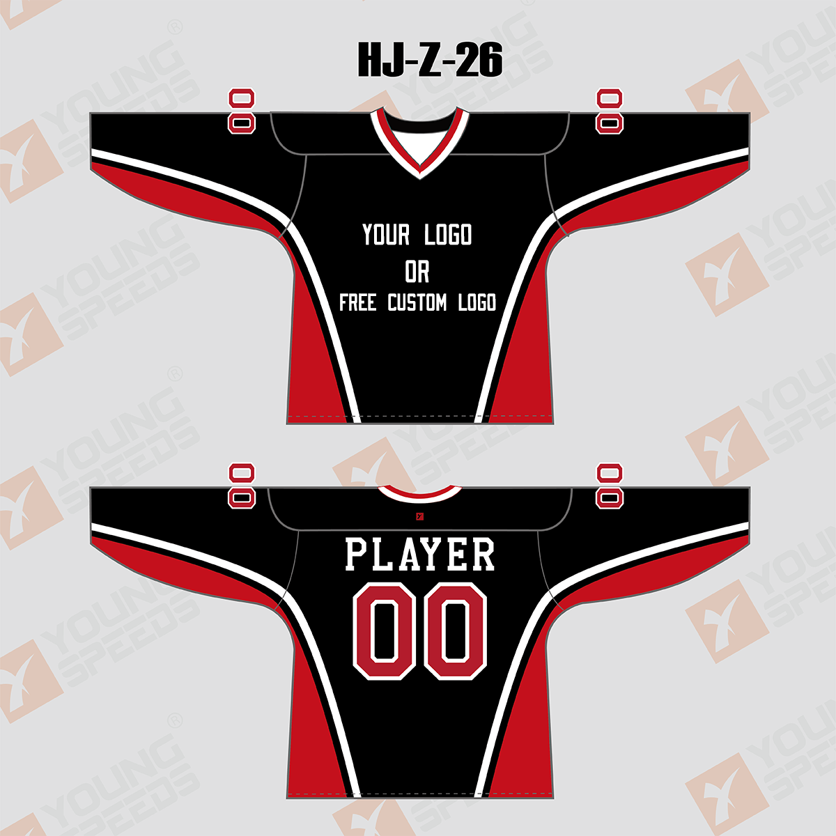 Black Red White Custom Sublimated Hockey Jerseys - YoungSpeeds