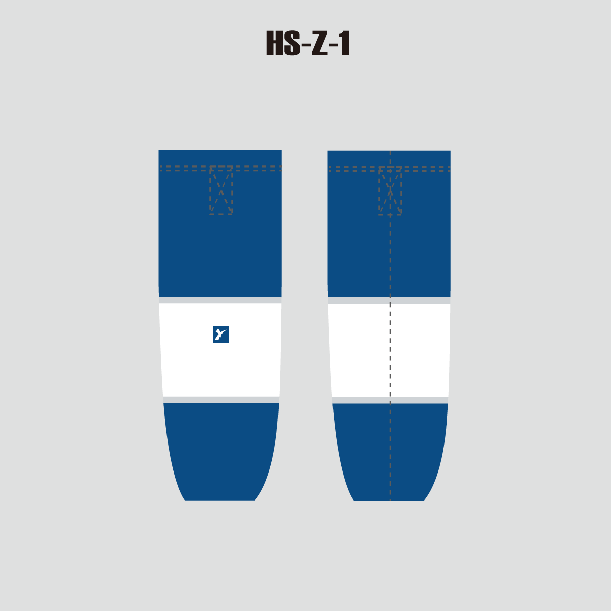 Blue and White Custom Sublimated Hockey Socks - YoungSpeeds
