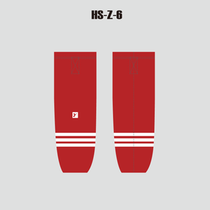 Sublimated Personalized Red Hockey Socks with Velcro - YoungSpeeds