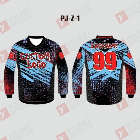 Brush Black Blue And Red Sublimated Custom Team Paintball Jerseys - YoungSpeeds