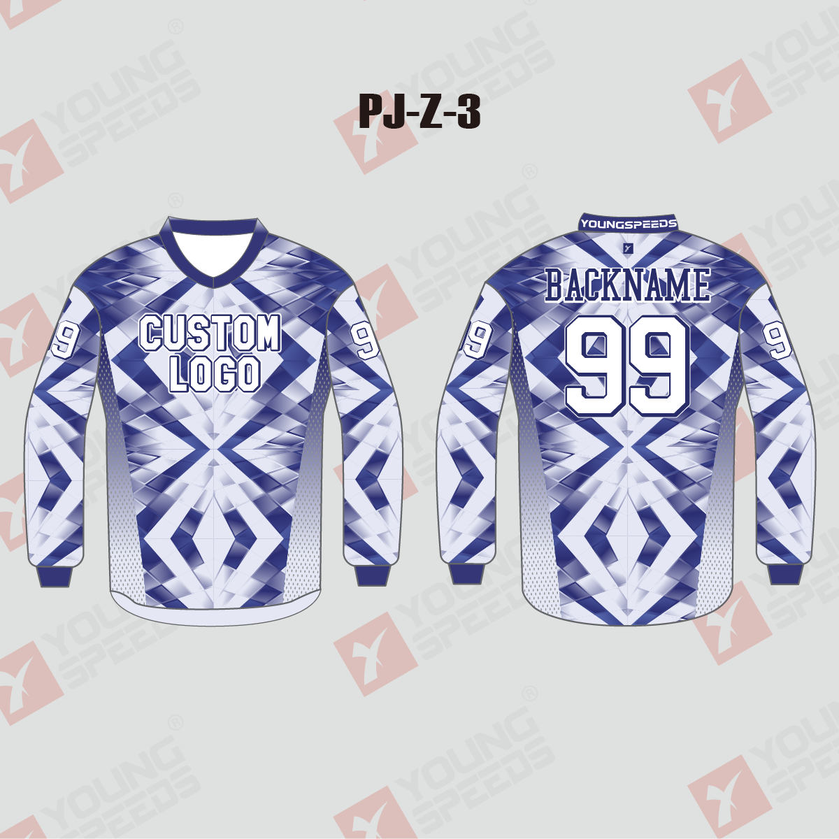 Blue and White Diamond Sublimated Custom Paintball Jerseys - YoungSpeeds