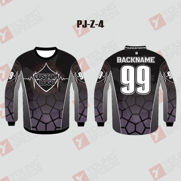 Pentagon Black Sublimated Custom Paintball Jerseys - YoungSpeeds