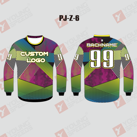Line Casual Style Green Pink Sublimated Custom Paintball Jerseys - YoungSpeeds
