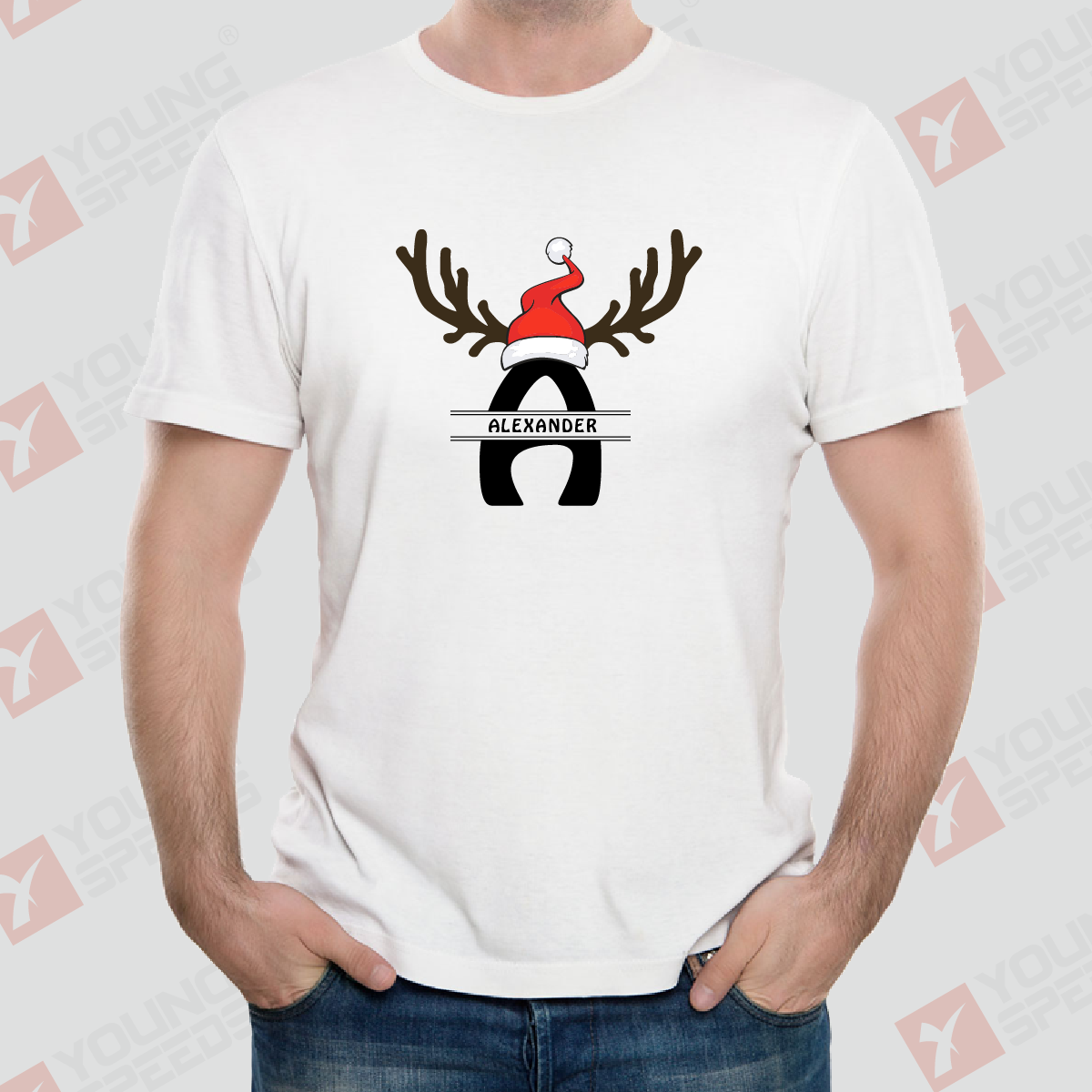 Antler Split Monogram Personalized Christmas T-shirts for Family Made in USA - YoungSpeeds