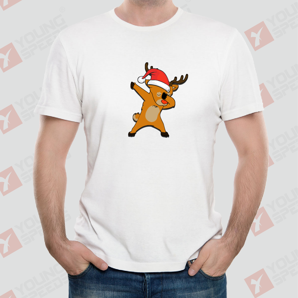 Dabbing Reindeer Funny Christmas Shirts Made in USA - YoungSpeeds