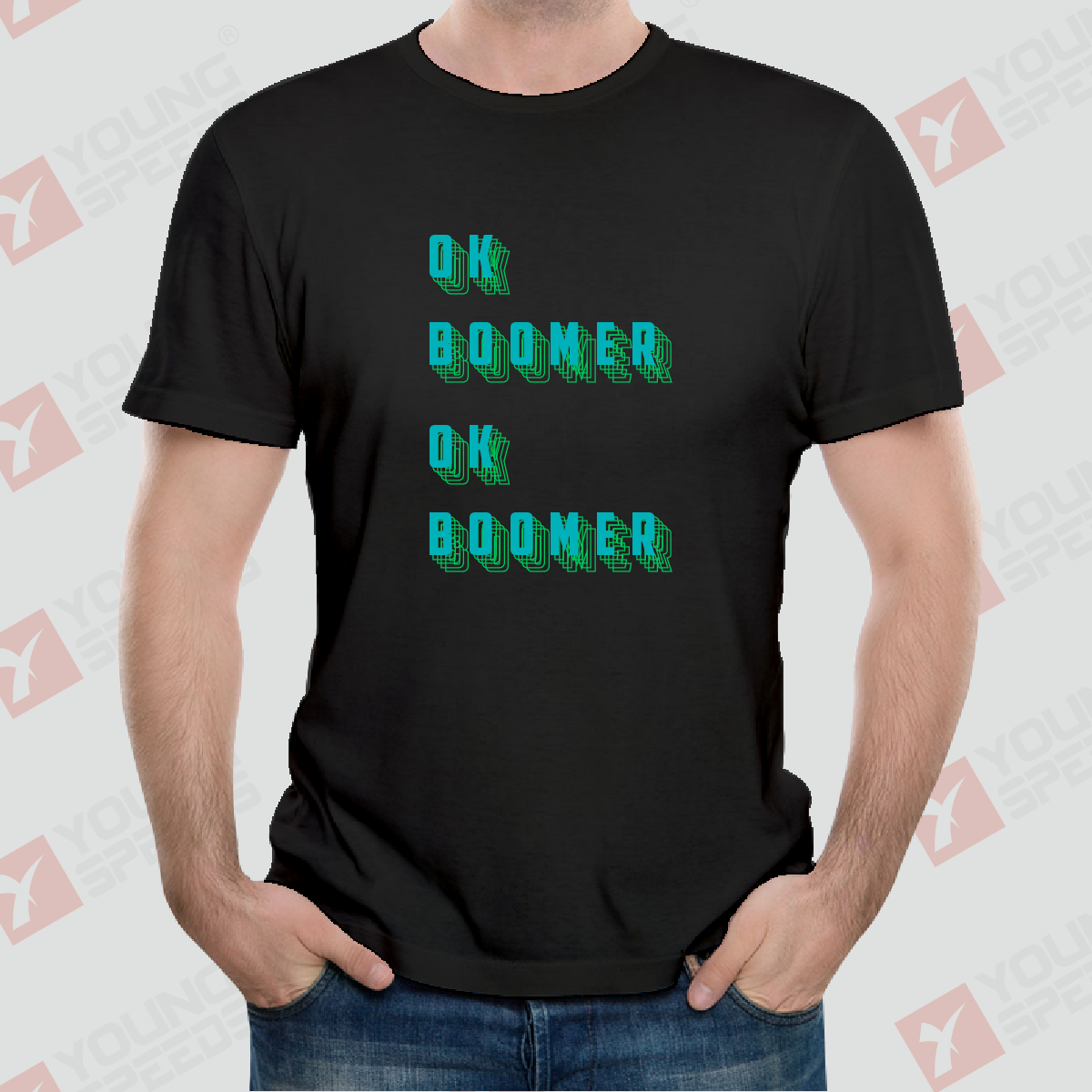 Original 3D Model Letters OK BOOMER Unisex T-Shirts Made in USA - YoungSpeeds